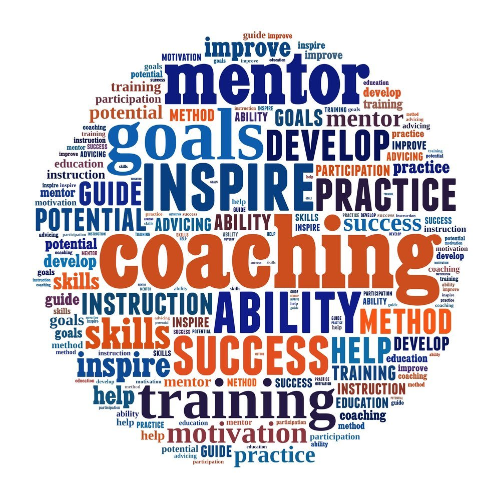 An academic coach focuses on words in the word cloud