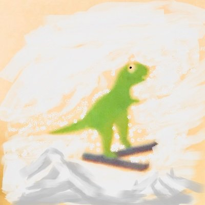 Dave and his ski jumping T-Rex