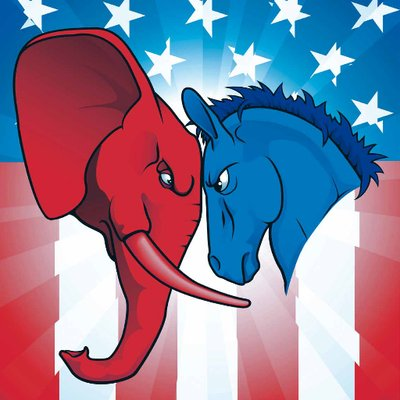 The elephant and donkey butting heads with the American flag in the background.
