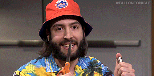 6d6ac4973bb79 Uh-oh! the mets bucket hat guy found a pair of scissors and the applause  button...  fallontonight - scoopnest.com