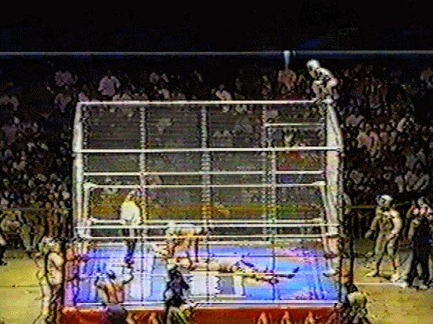 Handheld version of the infamous Mascarita Sagrada cage jump.