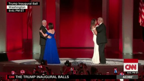 Mike Pence and his wife join the Trumps onstage for an #InauguralBall...