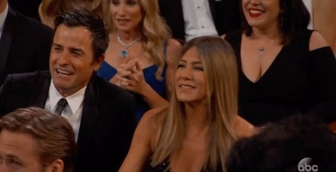 Us when we *finally* saw Jennifer Aniston on our TV #Oscars https://t....