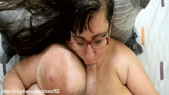 Fat guy gets blowjob from babe