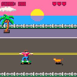 Our #pico8 game 'RAD' is looking much better since @huttonj 's design overhaul. #gamedev #pico8