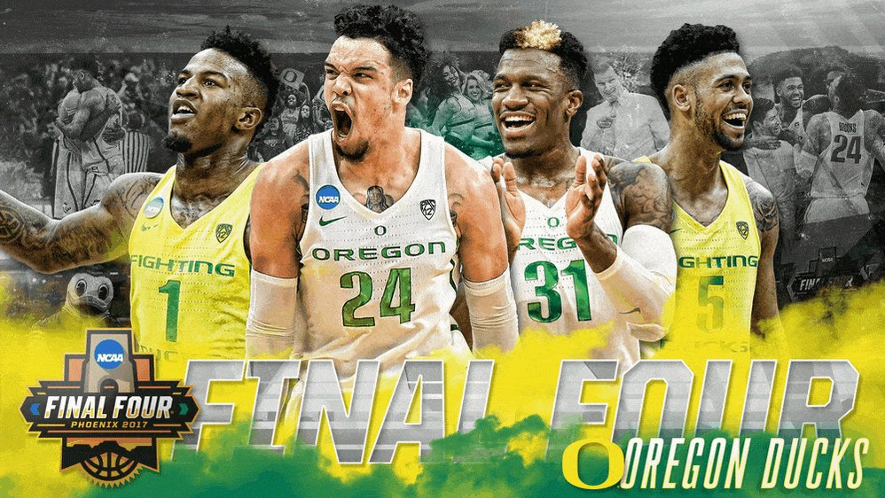 DUCKS FLY TO PHOENIX!  No. 3 Oregon ousts No. 1 Kansas, 74-60, to adva...