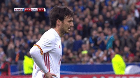 David Silva gives Spain the lead in France from the penalty spot #FRAE...