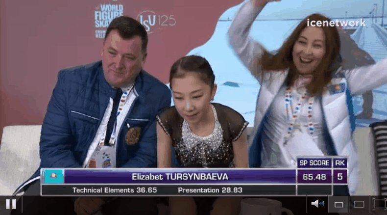 Elizabet Tursynbaeva's mom is GROOVIN'. #WorldFigure https://t.co/is5S...