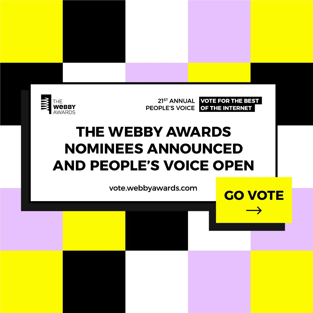 We're THRILLED to announce our 21st Annual #Webbys Nominees! 🎉  View + VOTE for People's Voice now ➡️ https://t.co/v3HgznJJtb https://t.co/Y5xMOfn36s