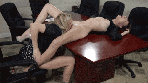 Hot lesbian sex scene in the office tmb
