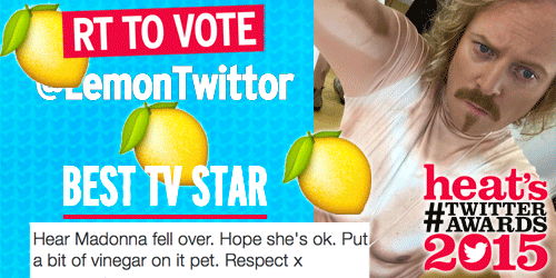 RT @heatworld: RT to vote @lemontwittor as Best TV Star in heat's #TwitterAwards! Boost his chances here: http://t.co/Fq1uNMwEfC http://t.c…