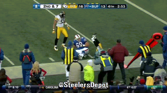 Throwback: Here is former NT Casey Hampton missing on his chest bump with S Troy Polamalu. #Steelers