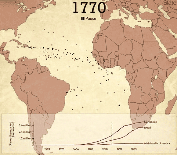 Haunting interactive from @Slate traces the paths of 20,000 slave ships in 2 minutes. http://t.co/uZ80rwdmB1 http://t.co/UrgqDC86tl