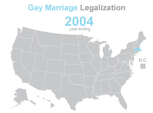 The progression of #GayMarriage legalization in under 20 seconds: http://t.co/m3z2mfcCIR