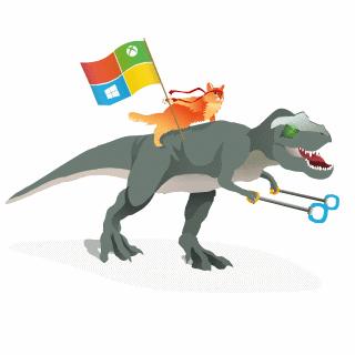 Microsoft's Windows ninja cat now rides a Tyrannosaurus rex in Skype http://t.co/FjrnKmPlln http://t.co/J6WZiYeDNb