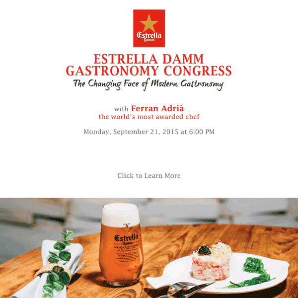 Giving away 2 tix to @EstrellaDamm Gastronomy Congress w @ferranadria. RT or Reply + follow @EstrellaDamm to win 'em. http://t.co/IEa2lx48ah
