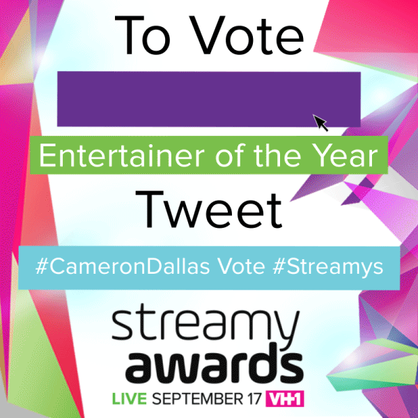 It's the LAST DAY TO VOTE for #CameronDallas for #streamys Entertainer of the Year! RT to vote for @camerondallas! http://t.co/OLp0ed5qsc