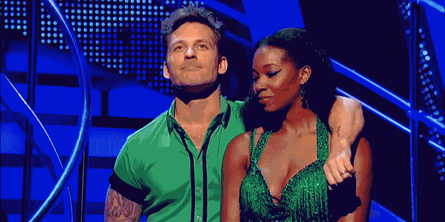 That is a real shock! @jamelia and @TristanMacManus in the dreaded #Strictly Dance Off. Good luck guys! http://t.co/Ckv6yKaDZO