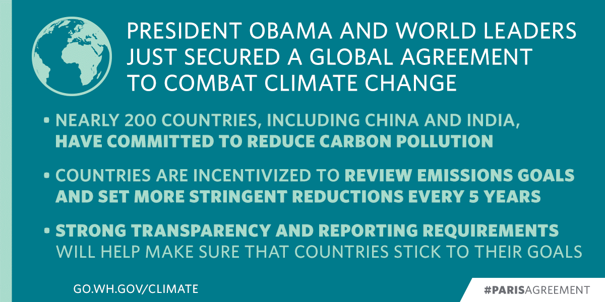 .@POTUS & nearly 200 countries, including China & India have secured a historic #ParisAgreement to #ActOnClimate. https://t.co/lPEQcXJgaq