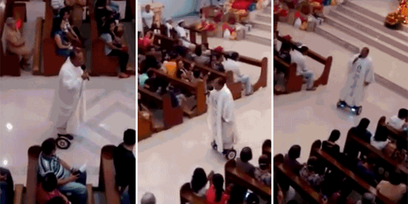 Padre é suspenso por andar de hoverboard na igreja: https://t.co/OxvaAWjbhC