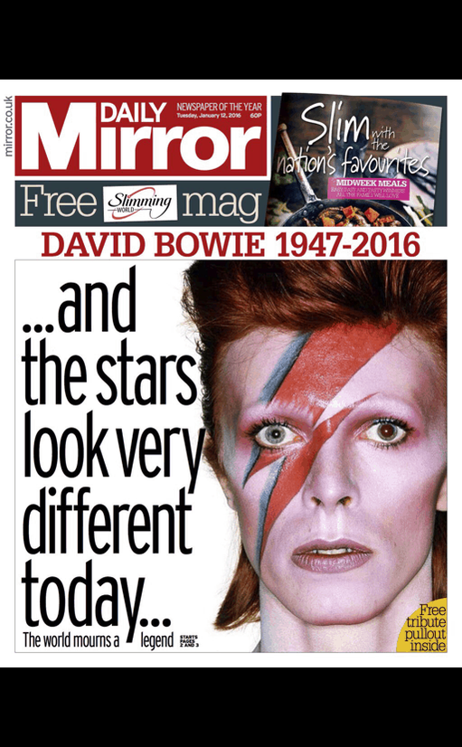 One face, but of many faces, dominates the UK newspapers on Tuesday. #DavidBowie https://t.co/9Ql48Gp2OR