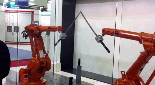 Somebody thought it was a good idea to teach robots how to be exceptionally good with swords.