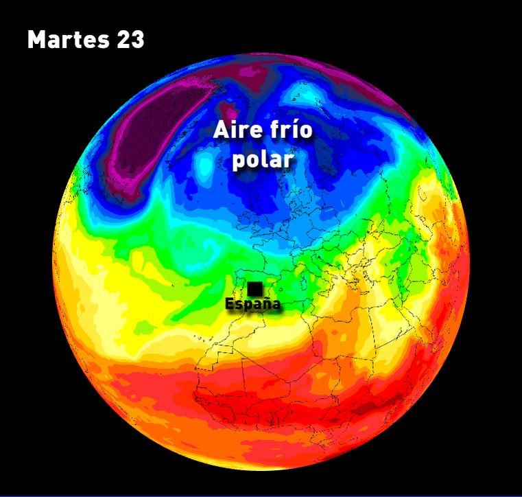 Vuelve el frío y la nieve. ¿Cuándo? A partir del viernes. Fijaos cómo el aire frío polar invadirá la península. https://t.co/0T0dhnpvQ1