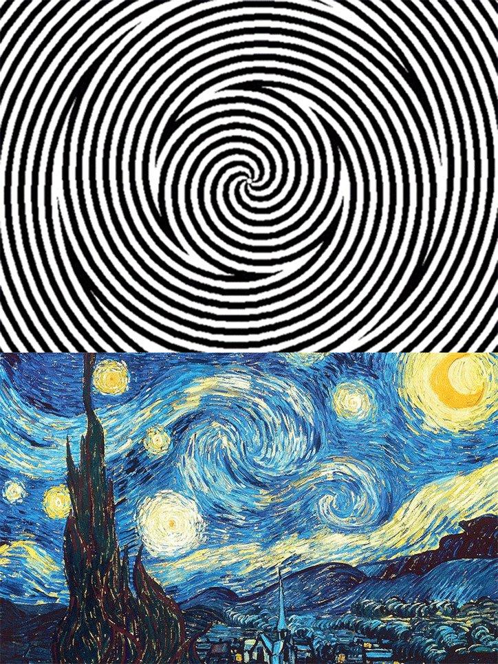 ゴッホで思い出したんだけど、上の渦巻きを30秒見つめた後下のゴッホの絵見てみ。マジでビビるぞ https://t.co/Iu2607PJYo
