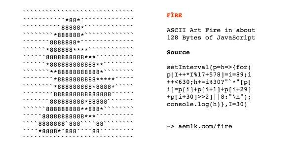 FÌRE  An ASCII art fire animation in ~128 bytes of JavaScript: →  https://t.co/6U1W8xELEf