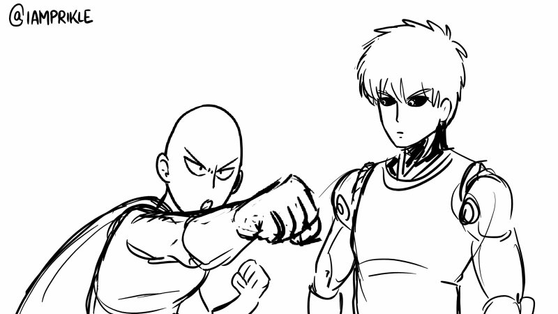 a version of my original interaction assignment where genos thinks saitama is asking for a kiss instead of a hit