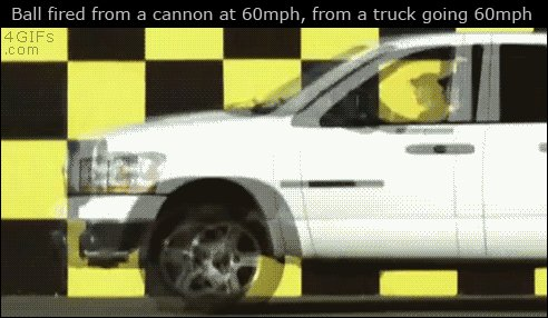 To those of you who doubt physics, may I present cannonball fired at -60 mph from a truck moving at +60 mph: https://t.co/zucnXWCbk8