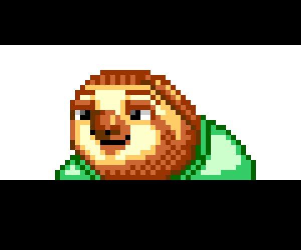 ズートピアのナマケモノの笑い方をドット絵で作ってみました。 https://t.co/V05rwOfv5M