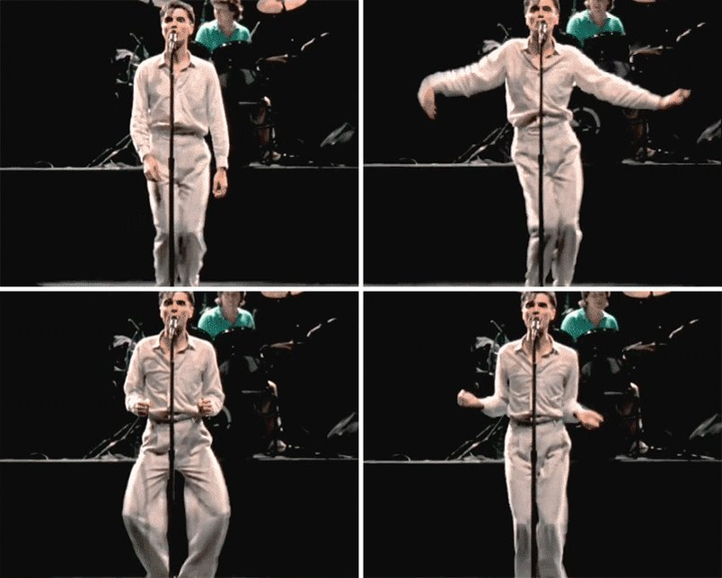 """Impossibly grateful that someone turned David Byrne's """"Life During Wartime"""" performance into this GIF. https://t.co/jRajq04vPS"""