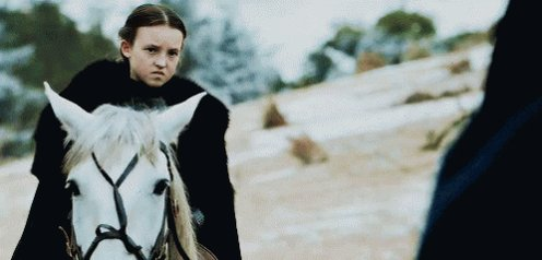May we all have perfect bravery and stank face, as a 10 year old Lady Mormont #GameofThrones