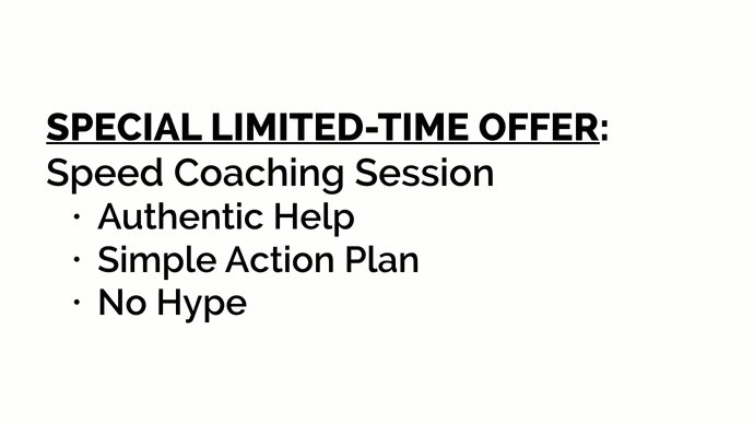 """Get Answers 1:1 """"Speed Coaching"""" for SOHO Self-Employed. Simple, No-Hype Action Plans. https://t.co/54UpulwM6c https://t.co/Zg6oB3IWY8"""