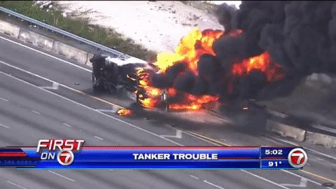 A tanker truck fire shut down the florida turnpike and parts
