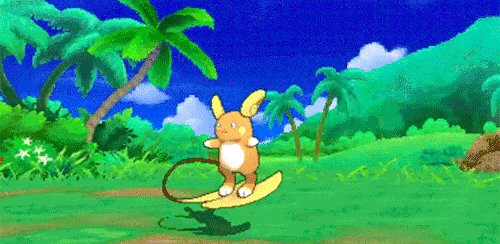 This GIF of Alolan Raichu 'surfing' is giving me life. #PokemonSunMoon https://t.co/x0sdt3hIdg