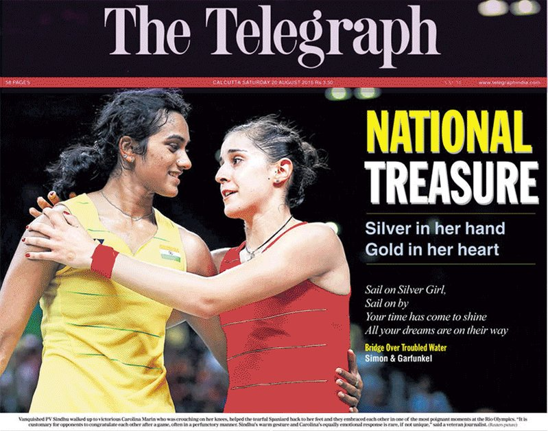 How the Indian newspapers headlined @Pvsindhu1's #Silver win at #Rio2016 https://t.co/YmeaBtYVgV
