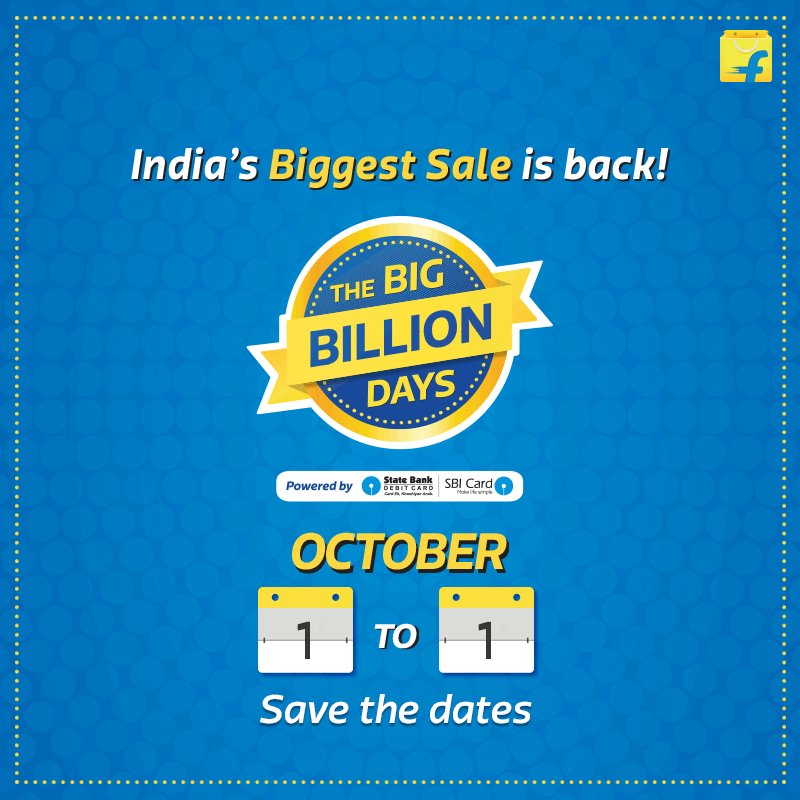 Mark your calendar for India's biggest sale! #BigBillionDays are back from 2nd-6th Oct. A big thank you for the RTs! https://t.co/0l1d4YfXbm