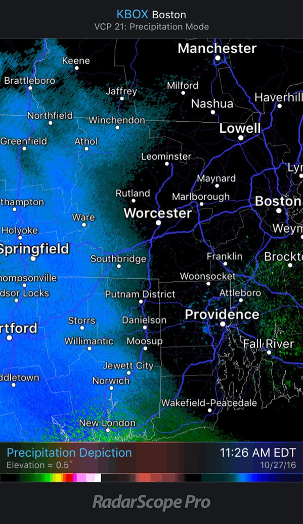 Flurries moving into Worcester County/close to 495.
