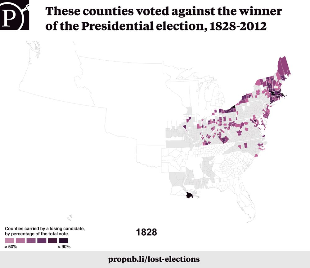 We mapped 184 years worth of presidential elections – from the loser's perspective. #Electionland https://t.co/t7FdPPHn6E