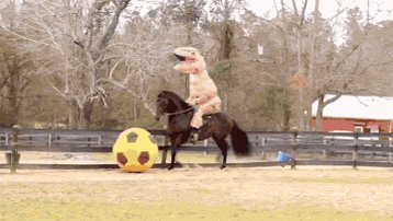 Take a break from anxiety! A T-Rex riding a soccer-playing horse! https://t.co/HKzEmFdfop https://t.co/DGJelfwOl5