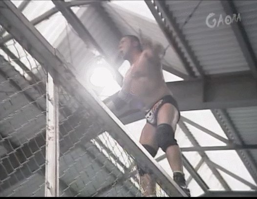 Dick Togo hits a diving senton off a cage. What a guy.