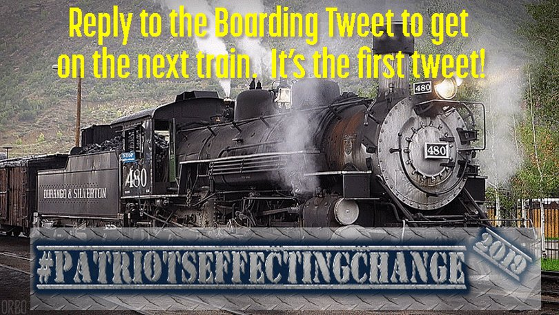 Happy February 23rd!  Time to roll the #PatriotsEffectingChange train! * TONS of New Passengers Today! *   ** THIS IS THE BOARDING TWEET! **    -Reply to THIS TWEET ONLY to get on board -The latest train is always my pinned tweet -Check pics after cars for info   BOARDING CAR