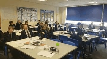 "Mrs Griffiths' Year 9s had a ""brain break"" today in their double pretending to bobsleigh! #PhysicallyActiveLessons #BrainBreak"