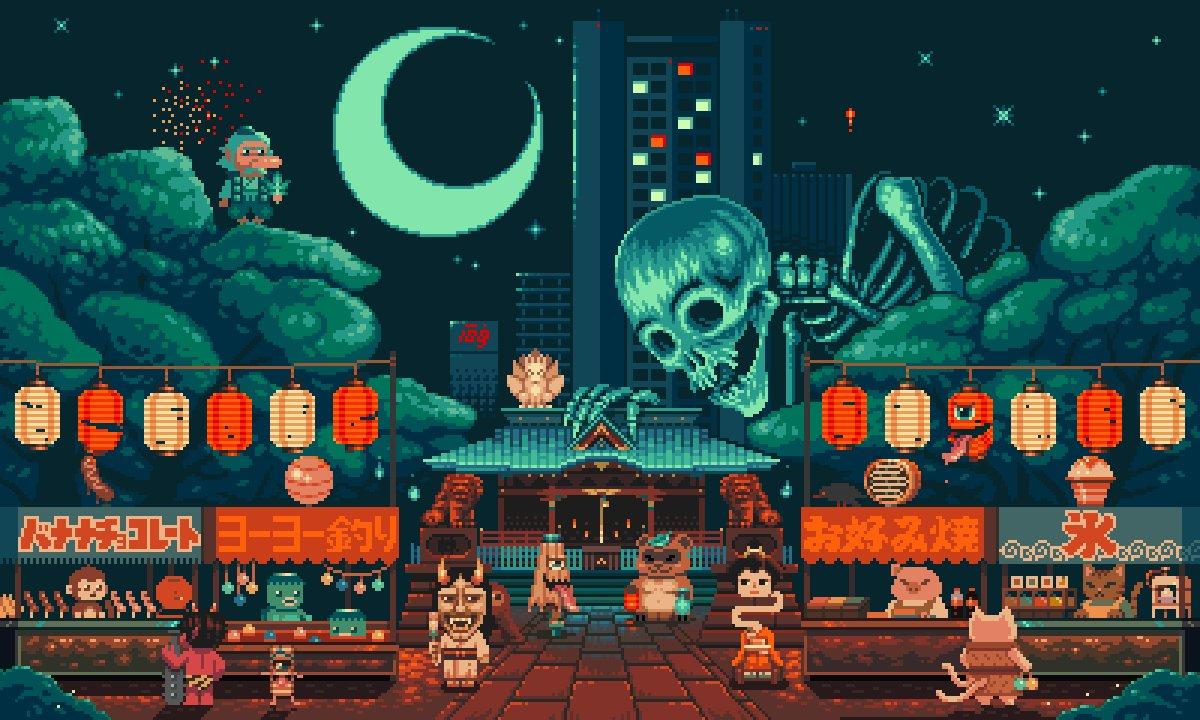 Yokai Festival 金王八幡宮[渋谷区]妖怪お祭り.  #shibuyapixelart2019 #pixelart  #ドット絵