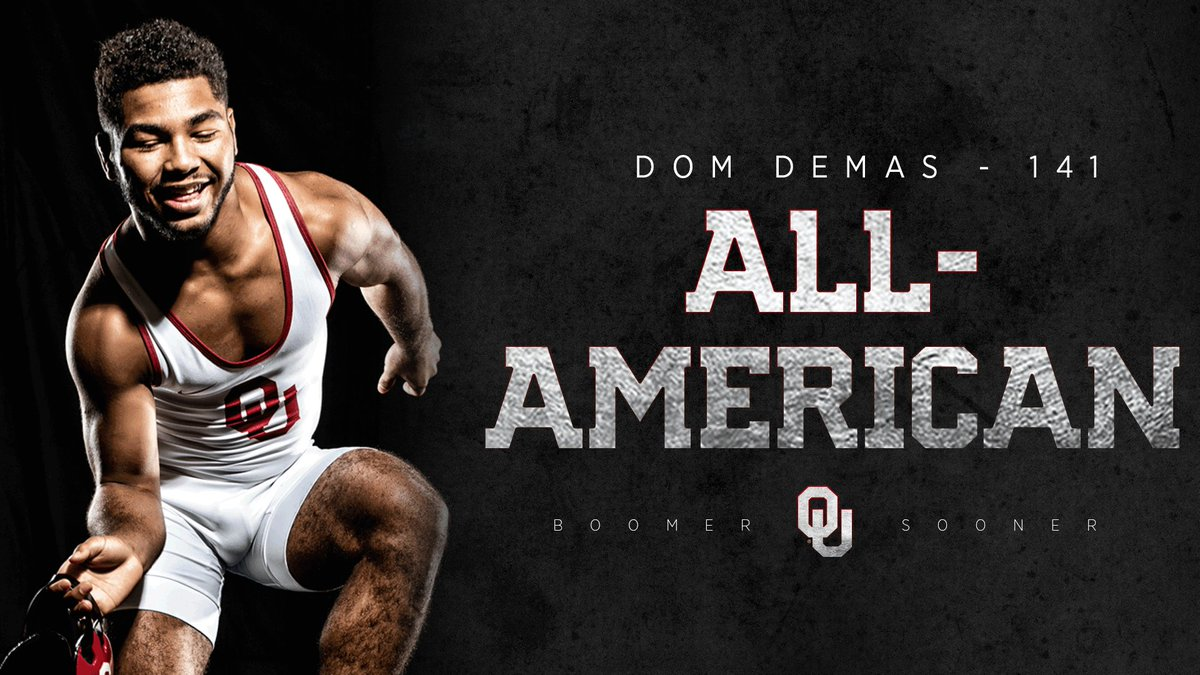 With his win tonight, @domonick_demas earns All-American status in his debut season!  He becomes OU's 274th All-American and first since Cody Brewer in 2016.