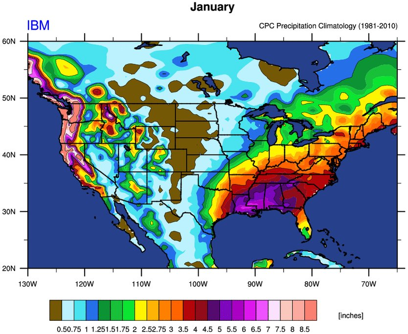 Image for the Tweet beginning: Precipitation in United States has