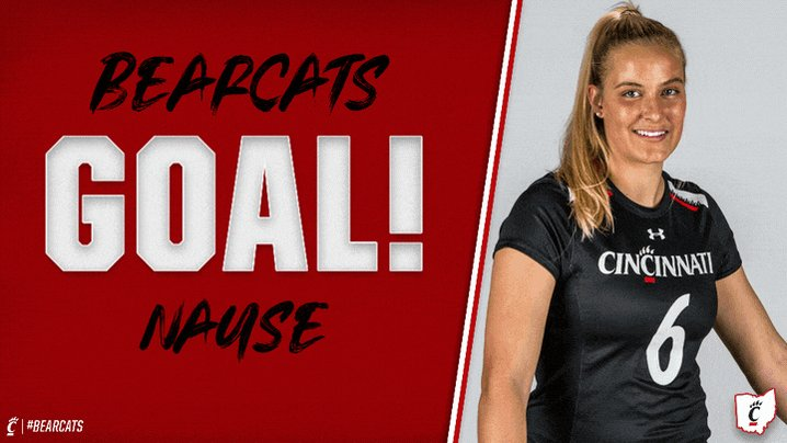 #Bearcats GOAL! Nause scores to give her two on the day - the 5th UC player with 2 goals today - and UC is up, 10-4, with 26:01 remaining in the contest! #AmericanWLAX