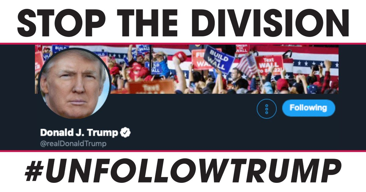 The President clearly cares more about his Twitter followers than the American people. His continued dishonesty and weaponization of social media has been divisive. I am calling on all Americans to #UnfollowTrump and hit him where it actually hurts him... his ego.